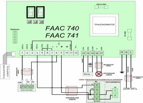 Схема подключения привода FAAC 741