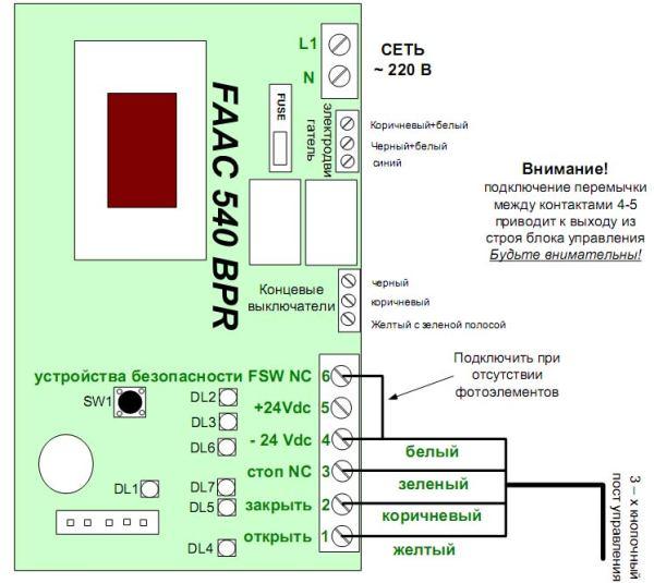 Технические характеристики привода FAAC 540